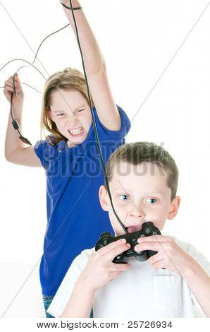 brother and sister fighting over video game