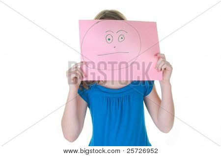girl hiding behind neurtal, non-emotional face, part of a series