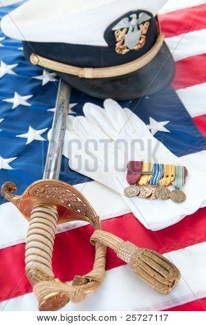 Medals and uniform pieces from World War II veteran
