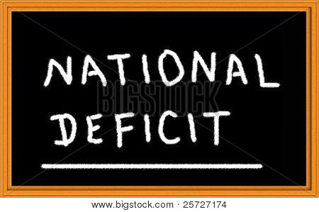 national deficit written on chalkboard