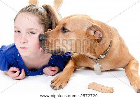 girl and dog by  bone