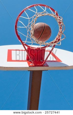 basketball goal under blue sky