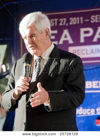 TAMPA - SEPTEMBER 12: Republican candidate Newt Gingrich addresses supporters after the CNN/Tea Party Express debate in Tampa, Florida on September 12, 2011.