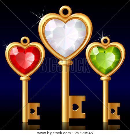 Three golden keys with Jewel heart