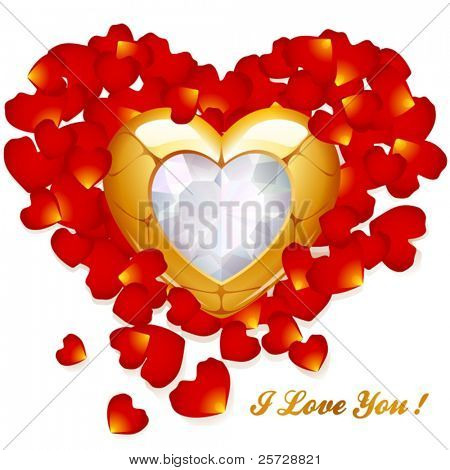 Greeting card with golden heart and petal of rose