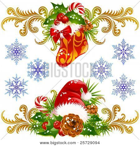 Christmas design elements set 4. Stocking, Santa hat and candy cane