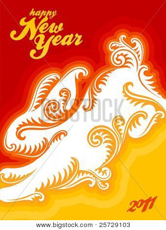 Chinese New Year vector greeting card with rabbit silhouette