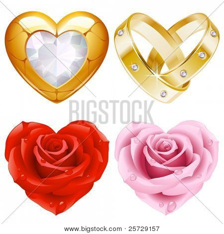 Shape of heart set 4. Golden jewellery and roses