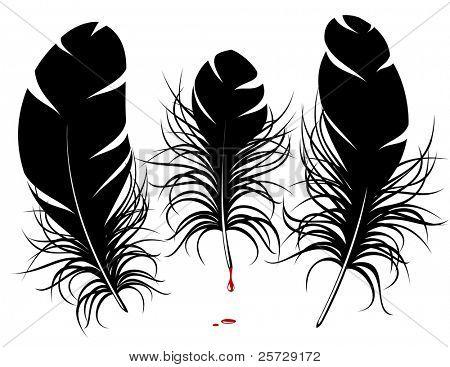 Silueta de pluma de Vector