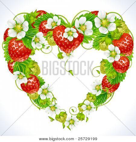 Quadro de vetor morango em forma de coração