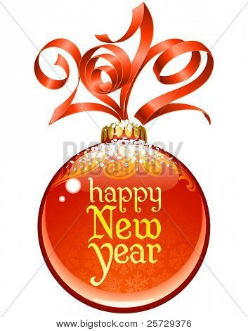 Navidad y año nuevo marco de círculo, vector lazo rojo en forma de 2012 y la bola de cristal