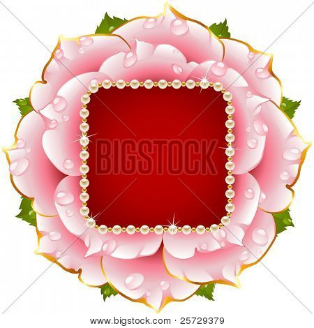 Vector floral background. Pink rose wedding circle frame with pearl necklace