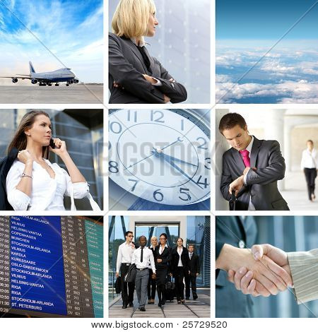 Collage anstossen Geschäft Reisen