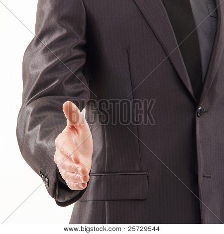 Businessman prepares for the handshake