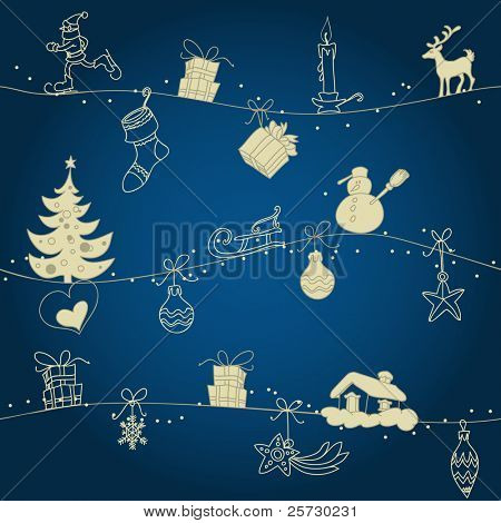Christmas seamless pattern, hand drawn golden ornaments over dark blue