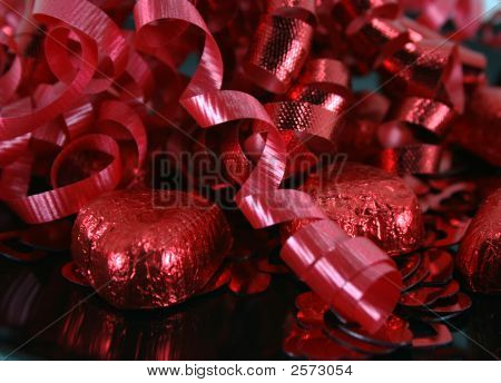 Valentine Chocolates And Ribbon