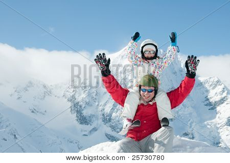 Winter vacation - ski, snow, sun and fun (space for text)
