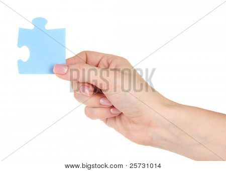 Blue puzzle with a hand isolated on white