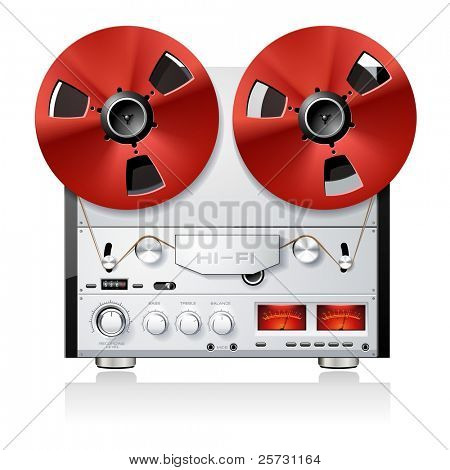 Vintage Hi-Fi analog stereo reel to reel tape deck player recorder detailed vector