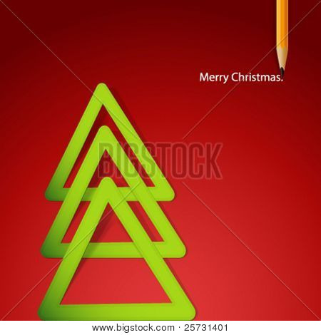 Christmas tree formed from triangular labels paper. Vector Illustration.