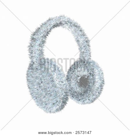 Render Of A Snowe White Furry Winter Earmuffs On A White Background