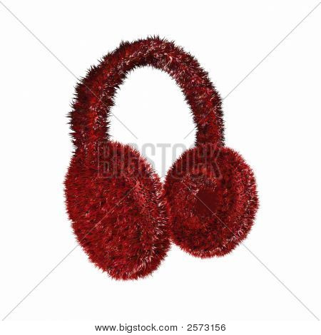 Render Of A Red Furry Winter Earmuffs On A White Background