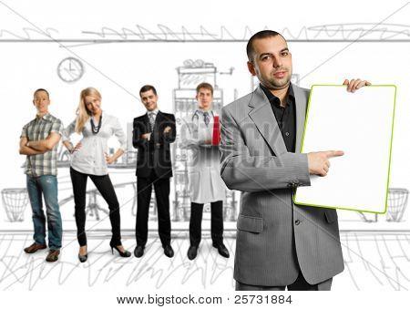 businessman holding empty write board in his hands, and few people