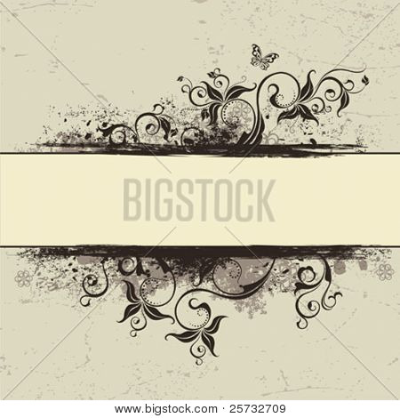 The decorative made old background with a branch and the butterfly in style VINTAGE