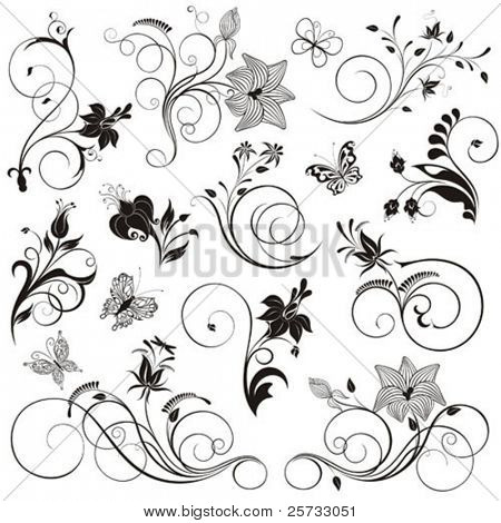 Set of vector flowers, patterns and butterflies