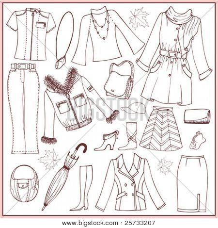 Conjunto de mulher Outono roupas e acessórios (doodle)