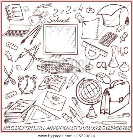 Escuela y educación sketch conjunto (doodle)