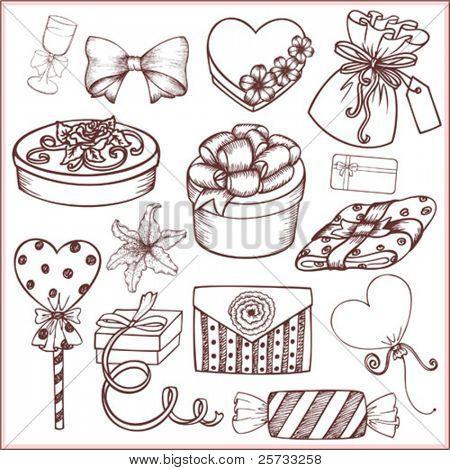 Geschenke und festliche Ornamente (Doodle)