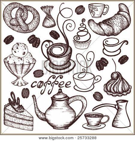 Doodle conjunto café e doces