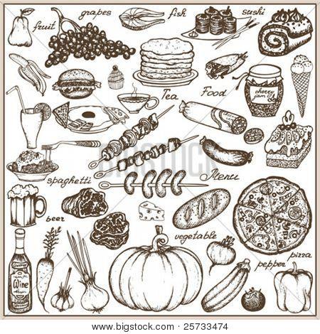 Set doodle food