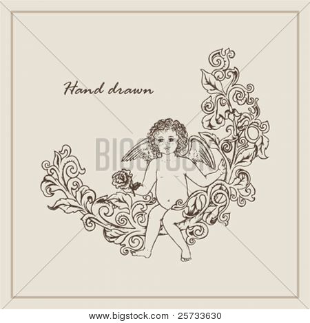 Angel sitting on a branch with a flower
