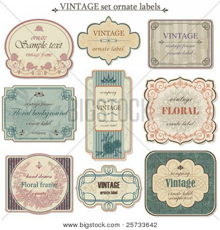 Vintage Vector set Etiketten
