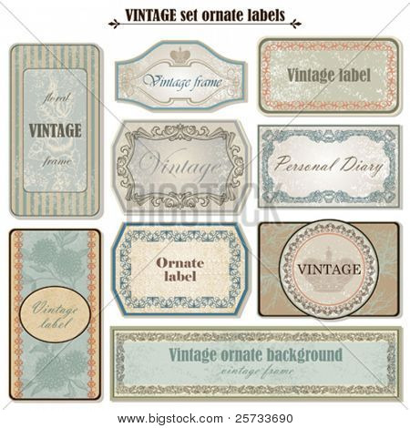Vintage set ornate labels