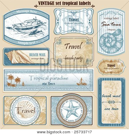 Travel set vintage ornate vector labels