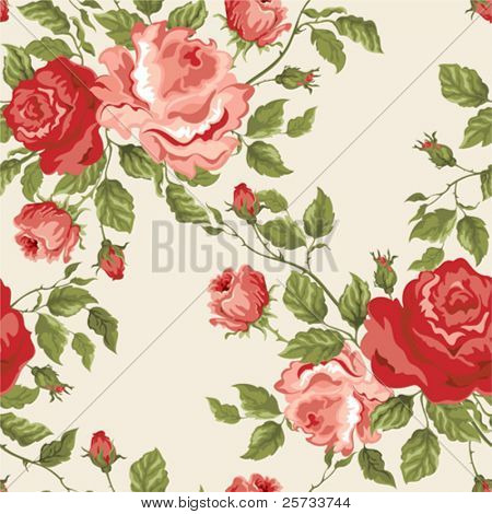Seamless vector background with roses