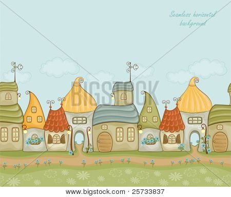 Seamless horizontal background a small house