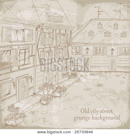Grunge background, old city street