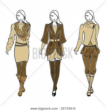 Collection of stylish autumn silhouettes of women's clothes