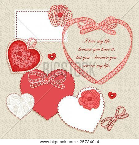 Scrap card, vintage heart design with free space for your text