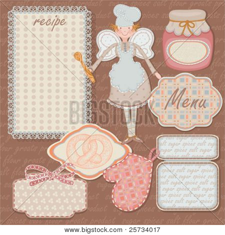 Scrap card, vintage food design with free space for your text