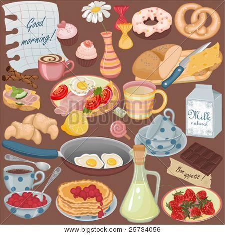 Colección de vectores de comida y bebidas para un desayuno