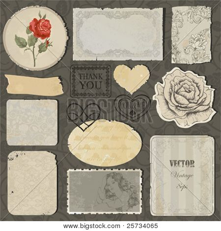Set of the old torn paper, labels, hearts and pieces of wallpaper with decorative elements, stamps and roses