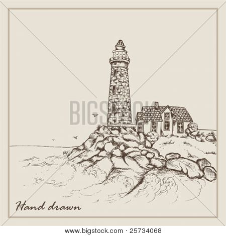 Landscape hand drawn with an old beacon and the house