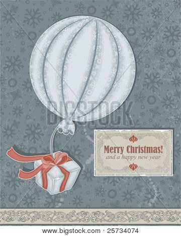 Christmas retro card with a balloon, gift and an old card