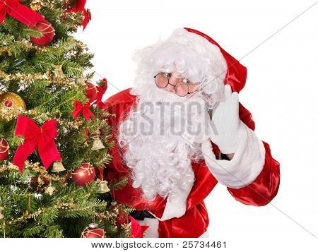 Santa claus with hand on ear by christmas tree.  Isolated.