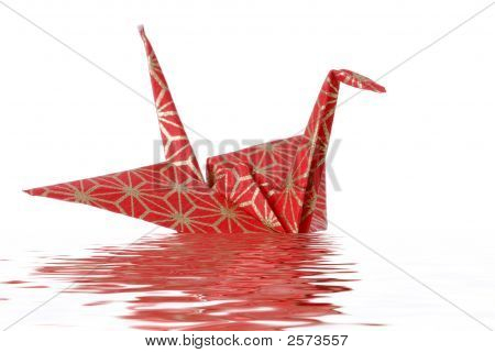 Japanese Peace Crane With Water Reflection